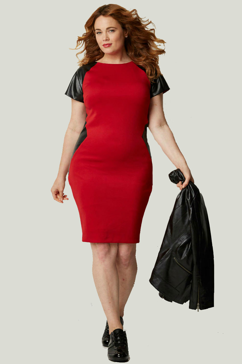 Faux Leather Detail Plus Size Ponte Knit Dress From ...